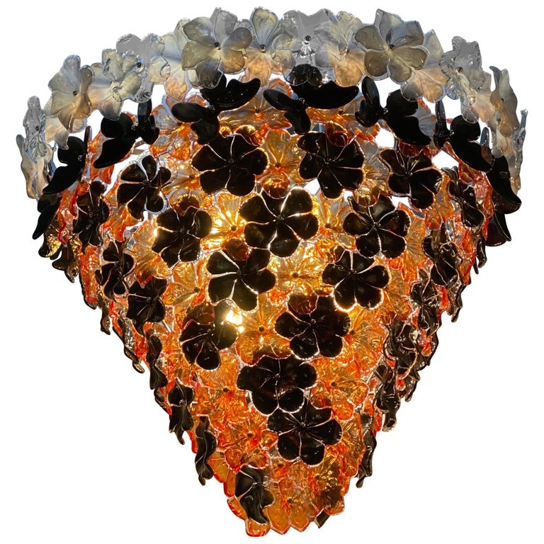 Contemporary Black and Orange Flower Stunning Murano Glass Chandelier For Sale