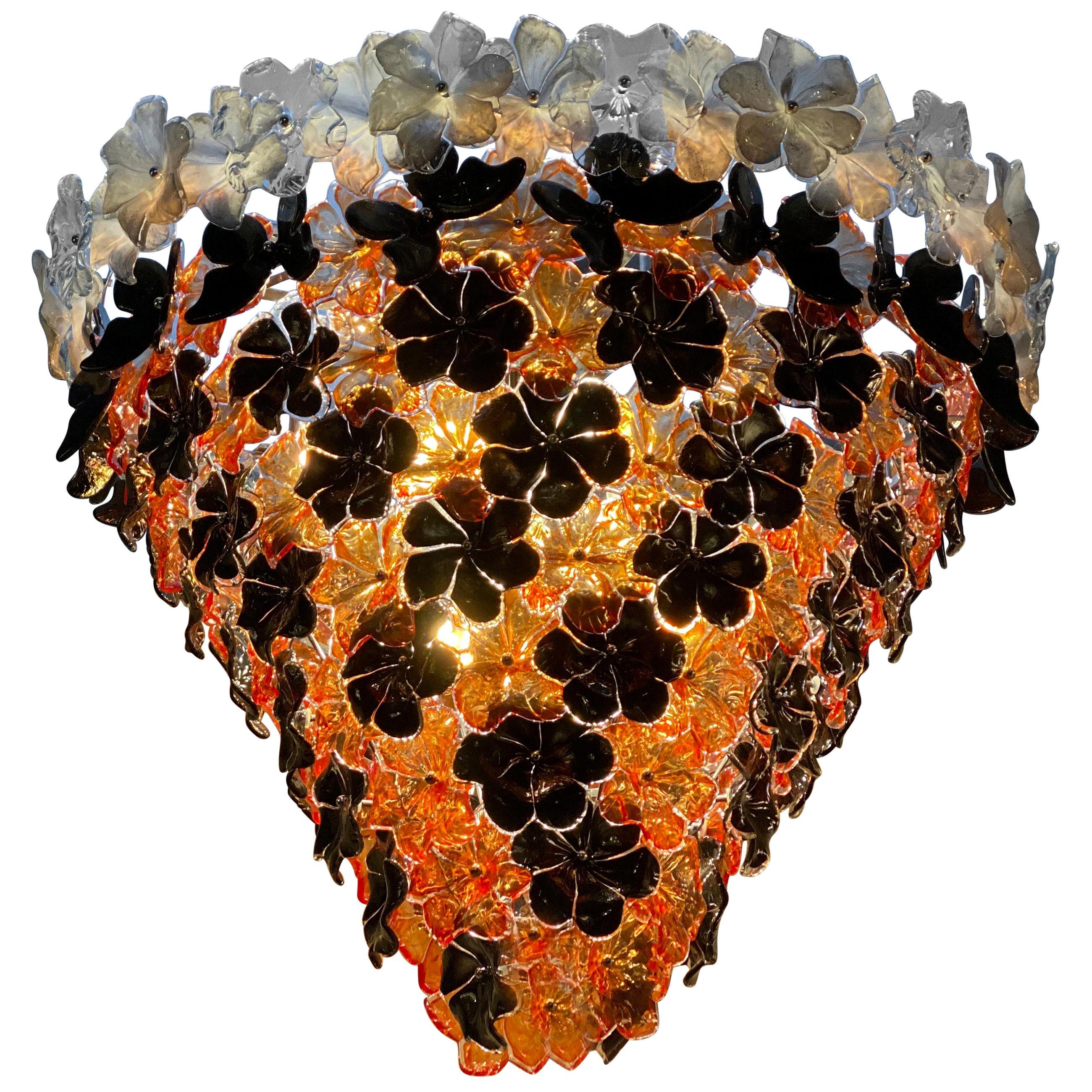 Contemporary Black and Orange Flower Stunning Murano Glass Chandelier
