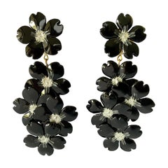 Contemporary Black and Silver Flower Chandelier Statement Earrings