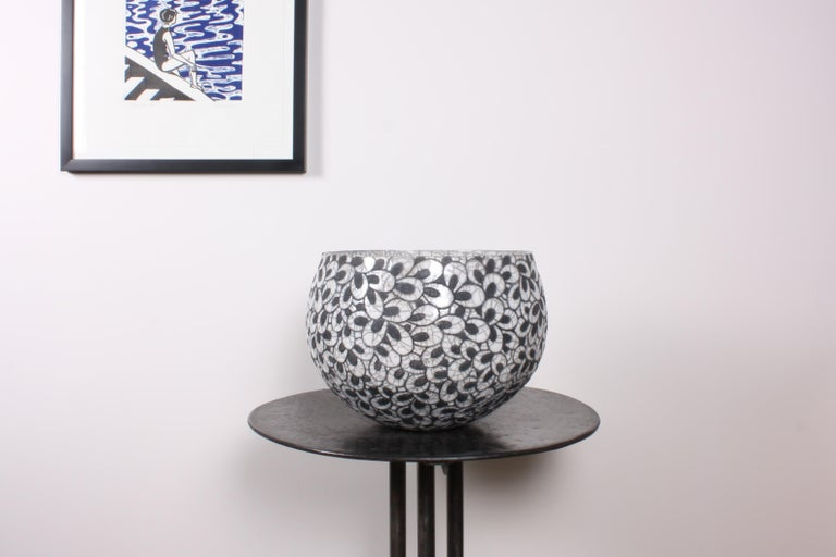 French Black and White Ceramic Bowl, Coupe Printemps II For Sale