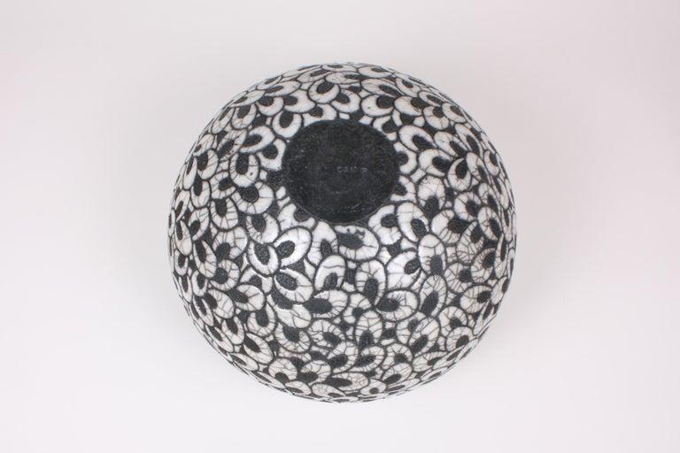 Glazed Black and White Ceramic Bowl, Coupe Printemps II For Sale