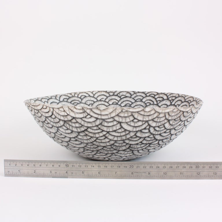 Contemporary Black and White Ceramic Bowl, Coupe Japonaise III For Sale 6