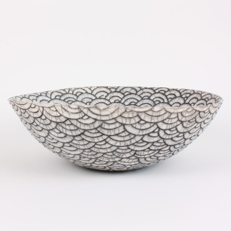 French Contemporary Black and White Ceramic Bowl, Coupe Japonaise III For Sale