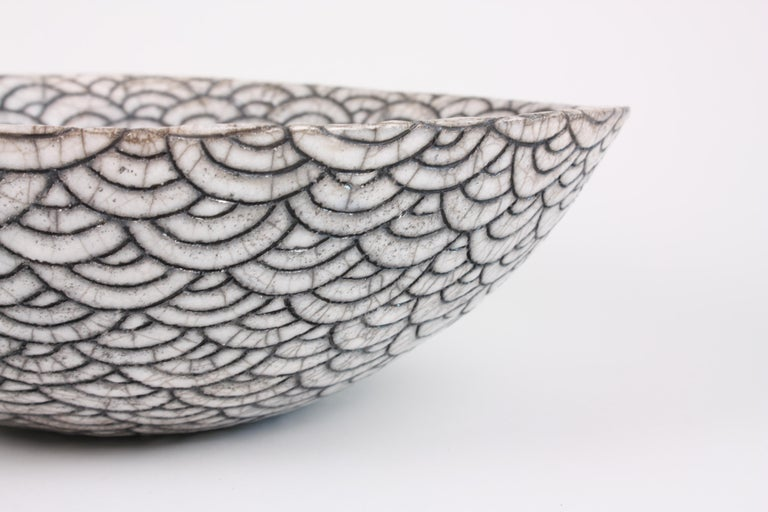Contemporary Black and White Ceramic Bowl, Coupe Japonaise III For Sale 2