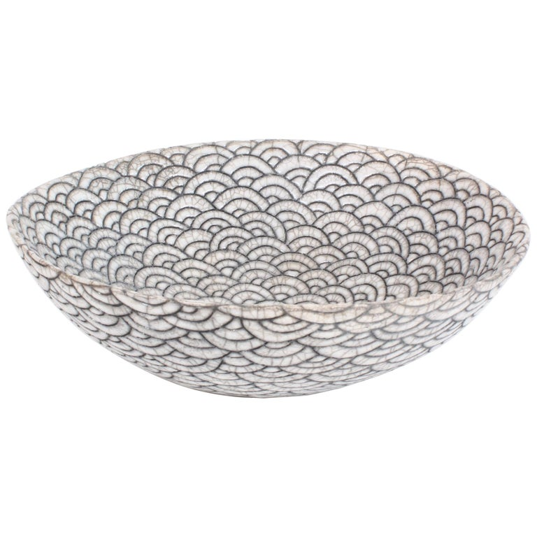 Contemporary Black and White Ceramic Bowl, Coupe Japonaise III For Sale