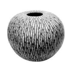 Contemporary Black and White Ceramic Globe Vase, Boule Strate, Large