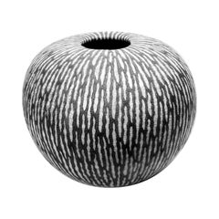 Contemporary Black and White Ceramic Globe Vase, Boule Strate, Medium