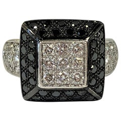 Contemporary Black and White Diamond Ring in White Gold
