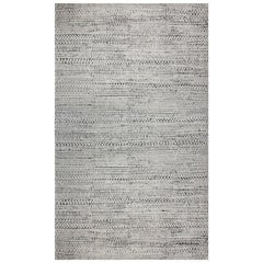 Contemporary Black and White Hand Knotted Wool Rug
