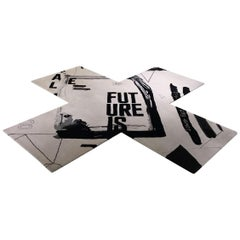 Contemporary Black and White Wool X-Shaped Module Rug by Henzel Studio