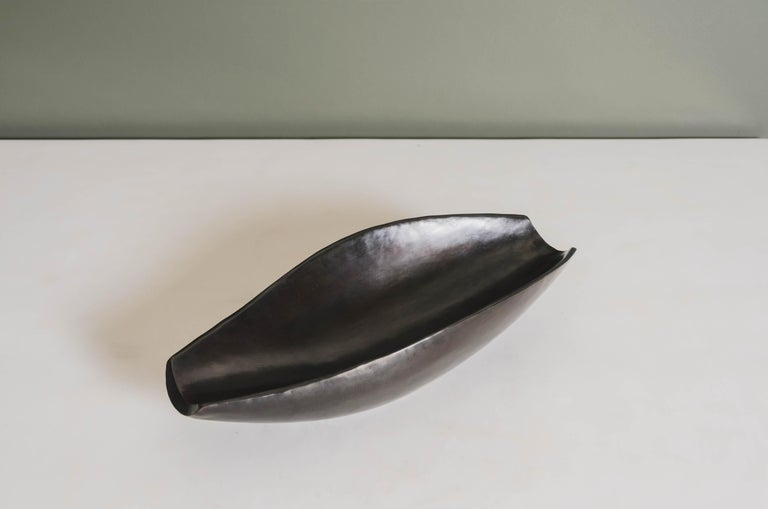 Modern Contemporary Black Copper Bai He Tray by Robert Kuo, Hand Repousse For Sale