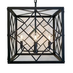 Contemporary Black Cube Pendant,  No Glass, Dining Room Wrought Iron Lantern