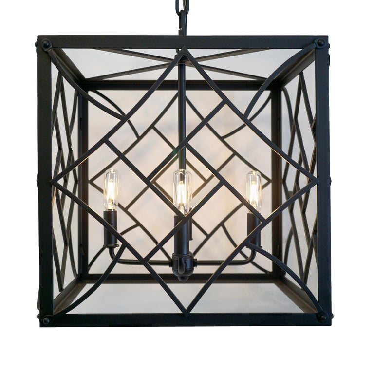 Contemporary Black Cube Pendant,  No Glass, Dining Room Wrought Iron Lantern  For Sale