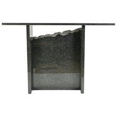 Contemporary Black Granite Console