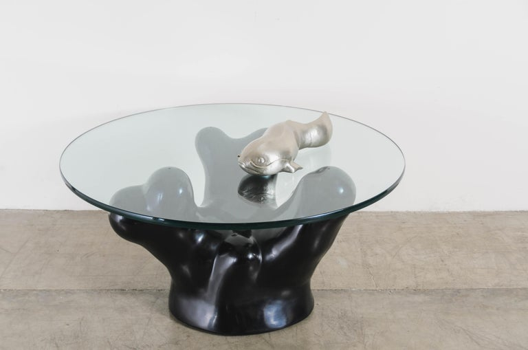 Contemporary Black Lacquer Coral Cocktail Table w/ Glass Top by Robert Kuo In New Condition For Sale In West Hollywood, CA