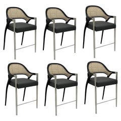 Contemporary Black Lacquered/Polished Chrome Stools, Handwoven Cane Back