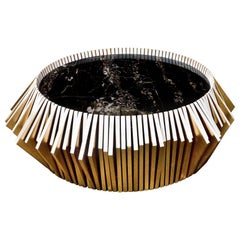 Contemporary Black Marble Handcrafted in Gold Leaf Coffee Table by Drama Studio