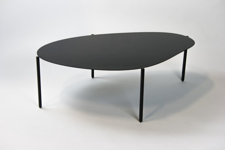 American Contemporary Black Painted Steel Organic Minimal Coffee Table, USA For Sale