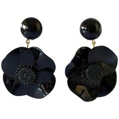 Contemporary Black Poppy Drop Statement Earrings