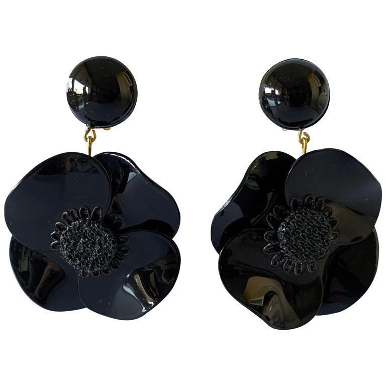 Contemporary Black Poppy Drop Statement Earrings For Sale