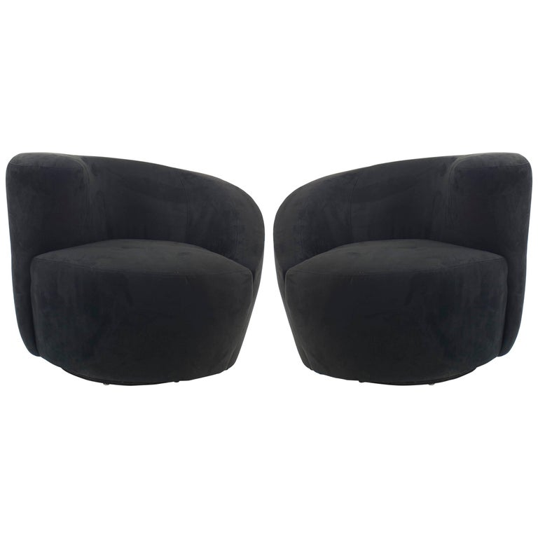 Contemporary Black Suede Cork Shaped Swivel Armchairs For