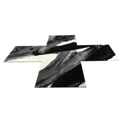 Contemporary Black, White and Grey Irregular X Shaped Wool Rug by Henzel Studio