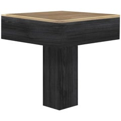 "Contemporary Black Wood Brass Brass Side Square Side Table ""Tee"", Atelier BAM"