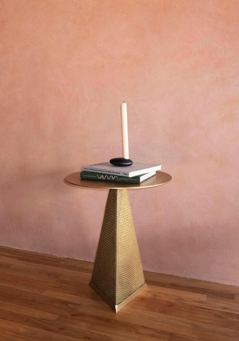American Contemporary Blackened Brass Single 'Stone' Candleholder by Konekt For Sale
