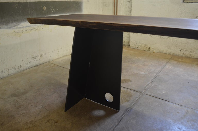 American Contemporary Blackened Steel and Walnut Console Table by Scott Gordon For Sale