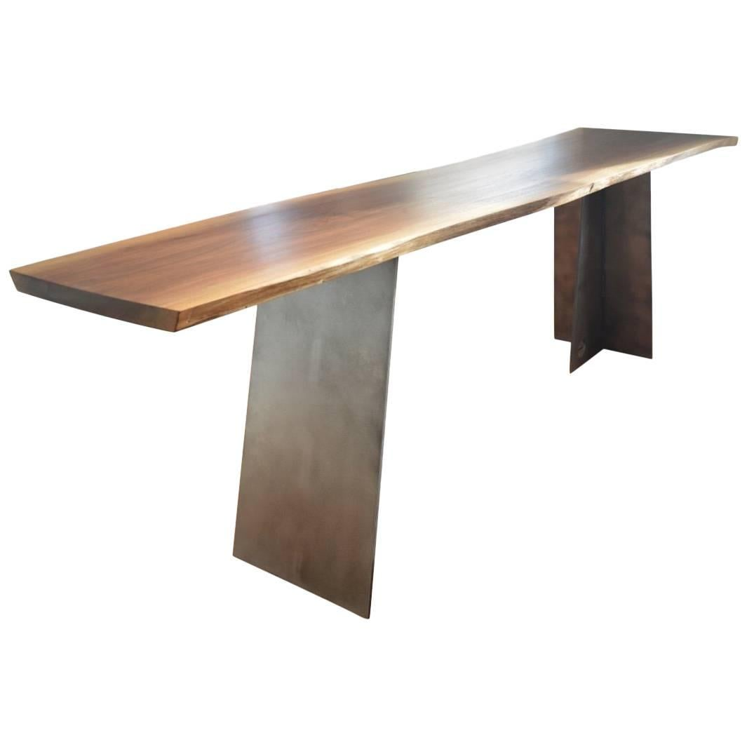 Contemporary Blackened Steel and Walnut Console Table by Scott Gordon
