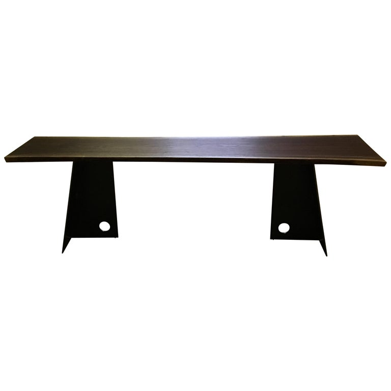 Contemporary Blackened Steel and Walnut Console Table by Scott Gordon For Sale