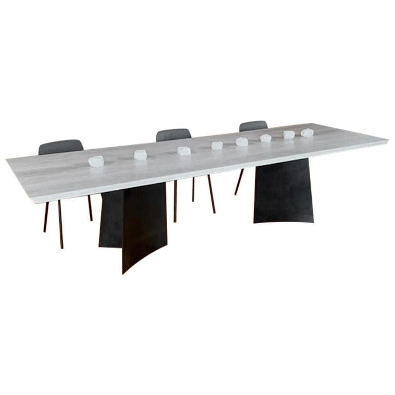 Contemporary Blackened Steel and White Oak Dining Table by Scott Gordon