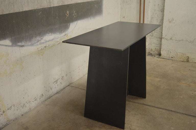 Minimalist Contemporary Blackened Steel Console Table by Scott Gordon For Sale