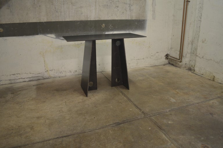 Contemporary Blackened Steel Console Table by Scott Gordon-In Stock In New Condition For Sale In White River Junction, VT