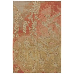 Contemporary Blossom Design Hand Knotted Wool and Silk Rug