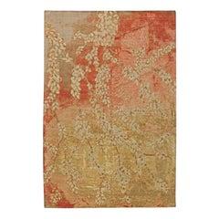 Contemporary Blossom Design Wool and Silk Rug
