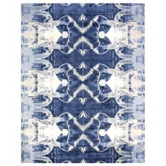 Contemporary Blucie Designed Hand-knotted Silk Rug