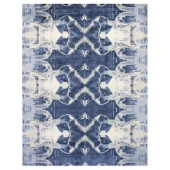 Contemporary Blucie Designed Hand Knotted Silk Rug