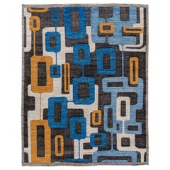Contemporary Blue and Black Geometric Abstract Handmade Wool Rug