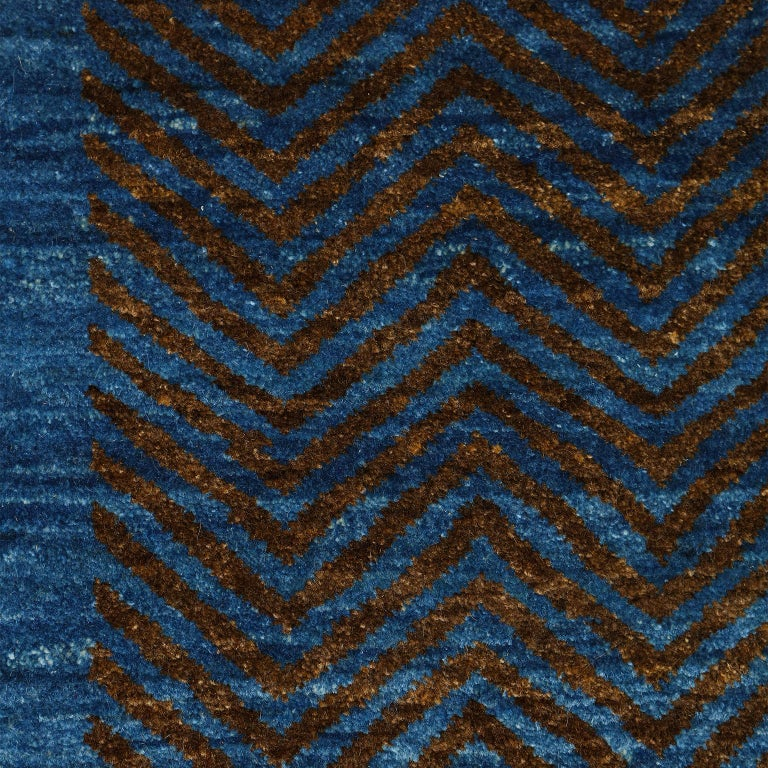 Contemporary Blue and Brown Architectural Deco-Inspired Wool Persian Rug For Sale 6
