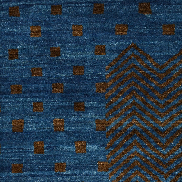 Vegetable Dyed Contemporary Blue and Brown Architectural Deco-Inspired Wool Persian Rug For Sale