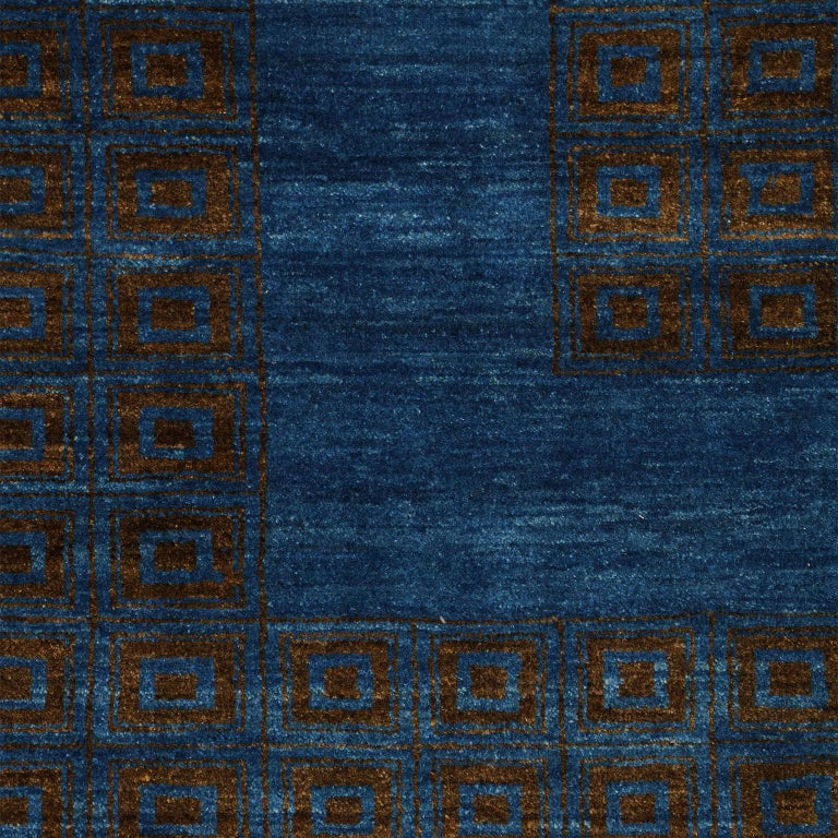 Contemporary Blue and Brown Architectural Deco-Inspired Wool Persian Rug In New Condition For Sale In New York, NY