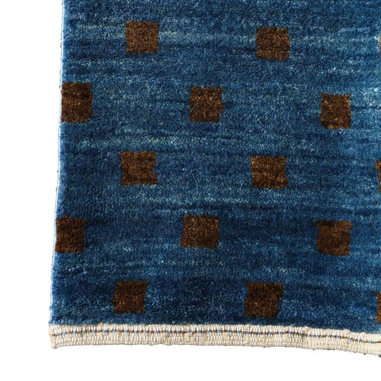 Contemporary Blue and Brown Architectural Deco-Inspired Wool Persian Rug For Sale 1