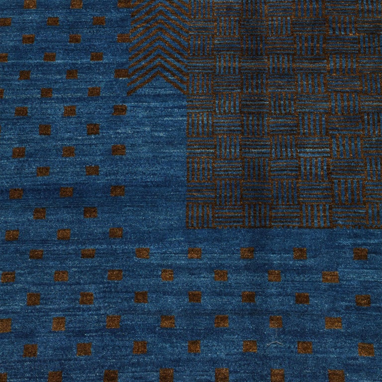 Contemporary Blue and Brown Architectural Deco-Inspired Wool Persian Rug For Sale 2