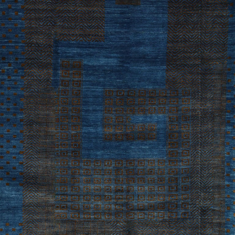 Contemporary Blue and Brown Architectural Deco-Inspired Wool Persian Rug For Sale 3