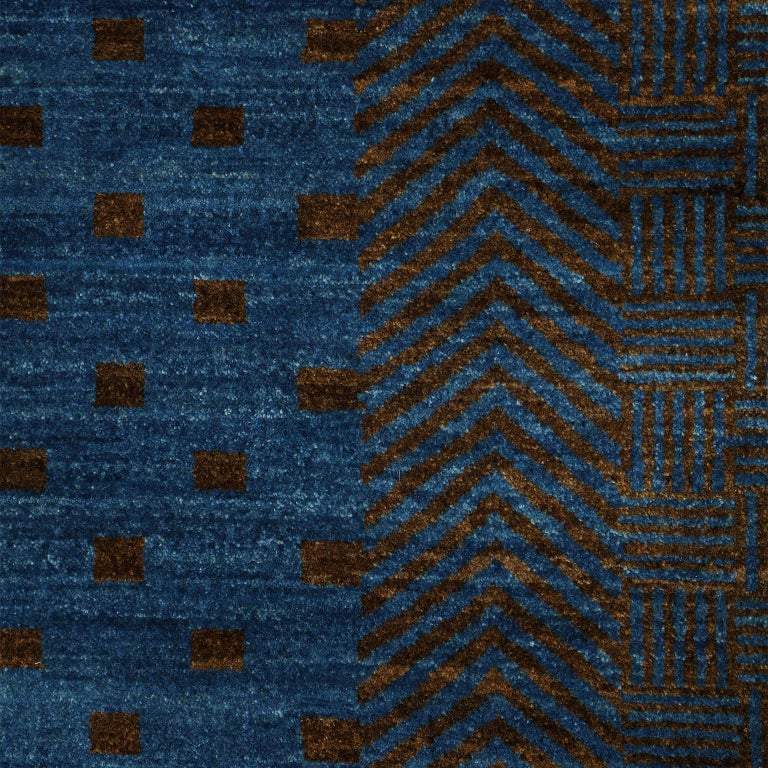 Contemporary Blue and Brown Architectural Deco-Inspired Wool Persian Rug For Sale 4