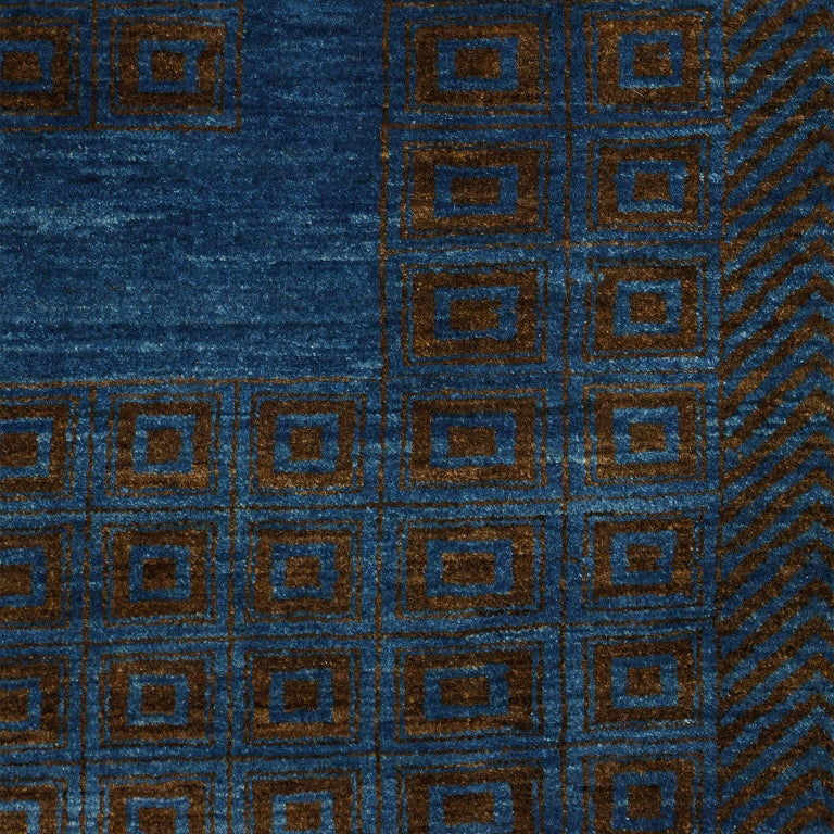 Contemporary Blue and Brown Architectural Deco-Inspired Wool Persian Rug For Sale 5