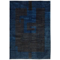 Contemporary Blue and Brown Architectural Deco-Inspired Wool Persian Rug
