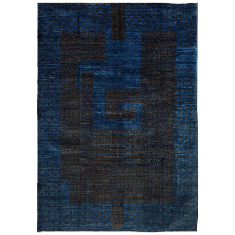 Contemporary Blue and Brown Architectural Deco-Inspired Wool Persian Rug For Sale