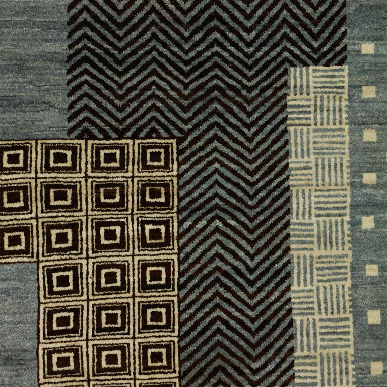Hand-Knotted Contemporary Blue and Cream Wool Persian Carpet with Modern Design For Sale